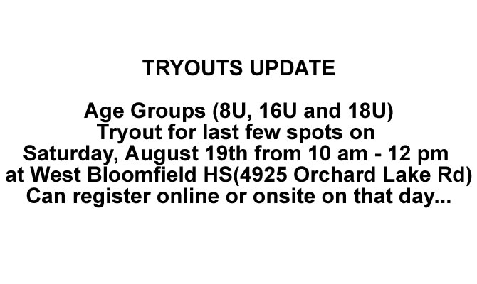 2018 Tryouts Update